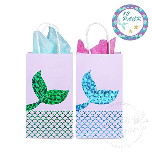 (YOUTH UNION Mermaid Gift Bags, Mermaid Party Supplies Favors Goodie Bags Glitter Treat Bags for Under The Sea Party Mermaid Gifts for Girls Set of)
