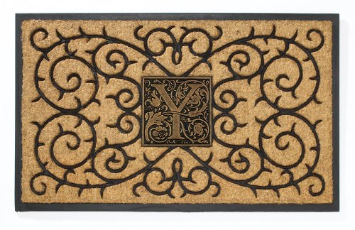 (Whitehall Products Personalized Coir Monogram Mat, Natural/Black)