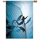 HUANGLING A Mermaid Rescues Flight Of Dolphins From A Fishing Net Freedom Diver Home Flag Garden Flag Demonstrations Flag Family Party Flag Match Flag 27''x37''
