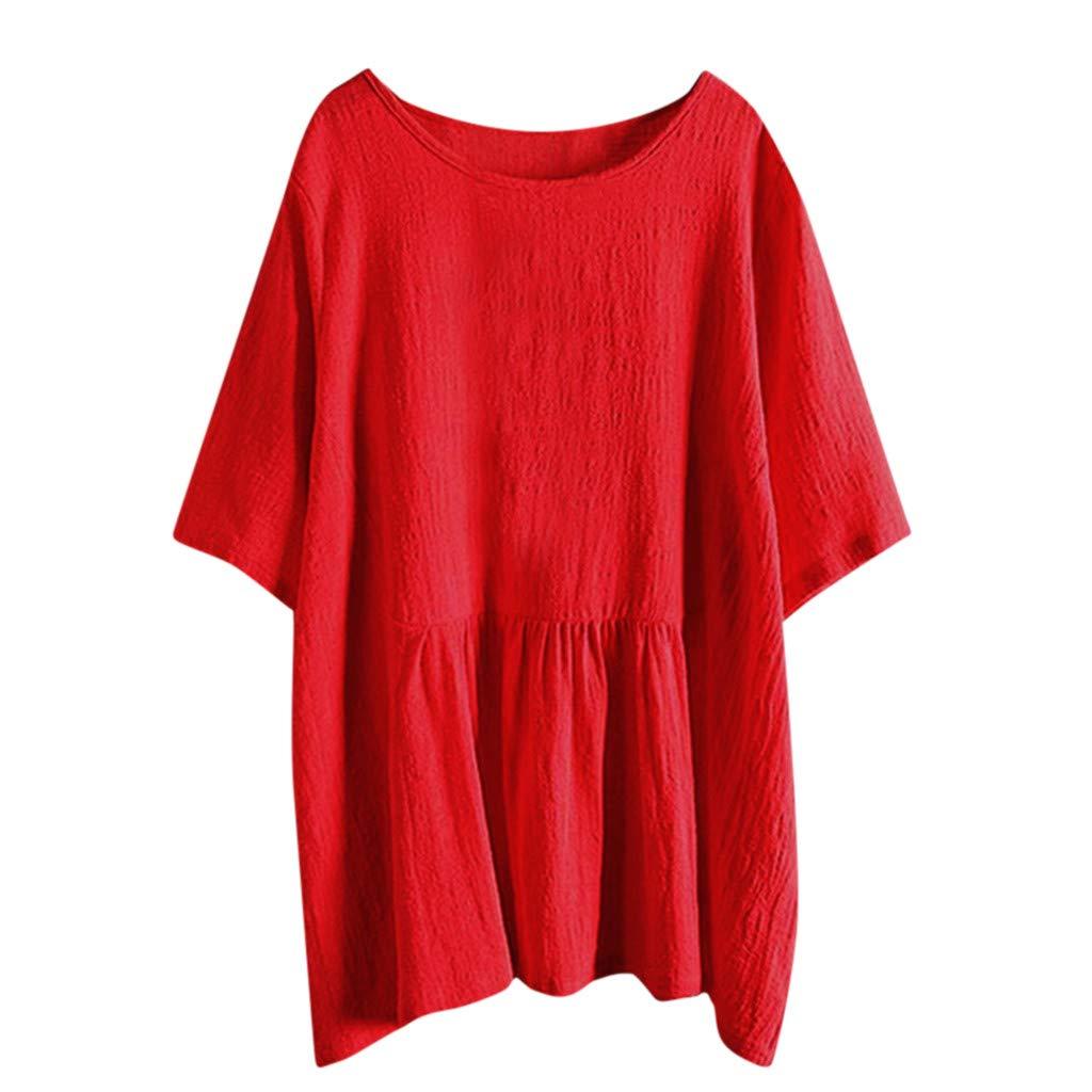 Alangbudu Women Loose Cotton Linen Tank Top Batwing Sleeve High Low Irregular Ruffle Hem T-Shirt Flowy Swing Dress Red