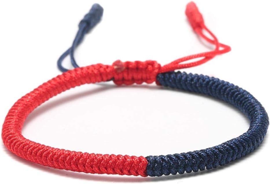 LLXXYY Pulsera Trenzada,Vintage Cuerda Trenzada A Mano Bangle/Buda Tibetano Suerte Amuleto Nudos Energéticos Rojo Azul Pulseras para Hombres/Mujeres Niñas Encanto Joyas Regalo