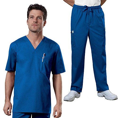 Cherokee Core Stretch Workwear Men's V-Neck Top & Utility Pant Scrub Set X-Large Royal
