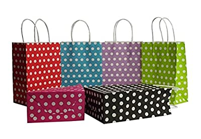 1dozen (12ct) Medium 10.5 Inch Kraft Gift Bags: Polka Dot, 6 Different Colors, Premium Quality Paper Bags, Biodegradable