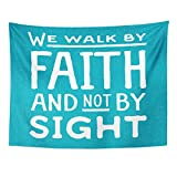 VaryHome Tapestry Word We Walk By Faith and Not Sight Design Retro Christian Scripture Bible Verse on Colored Beliefs Home Decor Wall Hanging for Living Room Bedroom Dorm 60x80 Inches