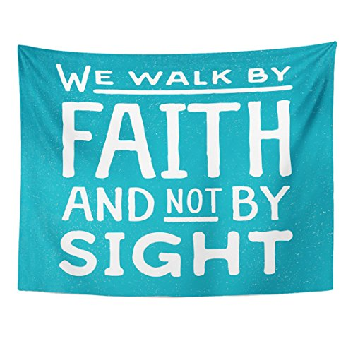 VaryHome Tapestry Word We Walk By Faith and Not Sight Design Retro Christian Scripture Bible Verse on Colored Beliefs Home Decor Wall Hanging for Living Room Bedroom Dorm 60x80 Inches by VaryHome