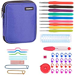 Damero Crochet Hooks Set, Crochet Hooks Kits with 9 Pcs Soft Grip Handles Ergonomic Crochet and Accessories, Crochet Set for Beginners and Crocheters, Purple