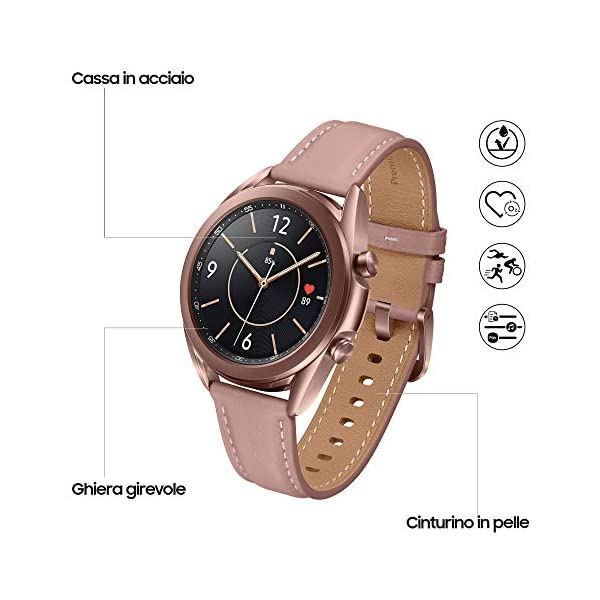 Samsung Galaxy Watch3 Smartwatch Bluetooth, cassa 41mm acciaio, cinturino pelle, Saturimetro, Rilevamento cadute… 2