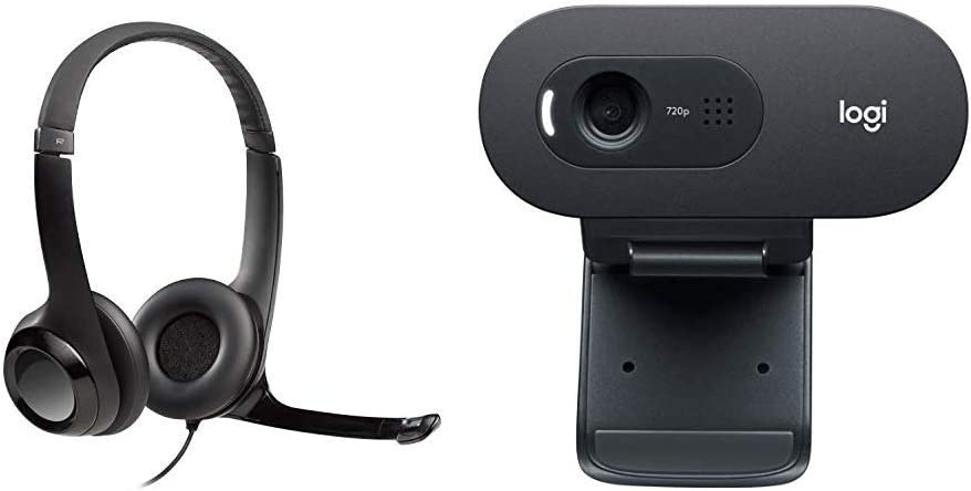 Logitech USB Headset H390 with Noise Cancelling Mic & C270 Desktop or Laptop Webcam, HD 720p Widescreen for Video Calling and Recording