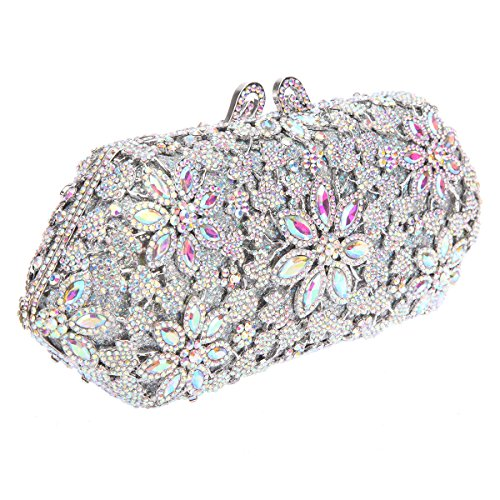 Bonjanvye Purses Crystal For Girls Flower Handbags Silver Ab Blossoming Shining xraHqBa