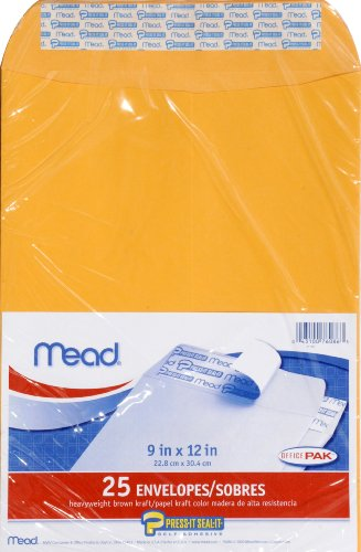 Mead Envelopes, Press-It Seal-It, 9 x 12 Inches, Office Pack, 25 Per Pack (76086)