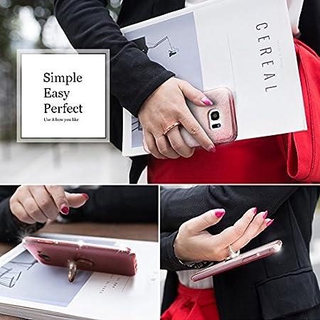cubierta exterior de TPU suave Miss Arts Carcasa Brillante Brillo con soporte giratorio de 360 grados armaz/ón interior de PC duro para Samsung Galaxy S7 Edge -Rose Oro Funda Galaxy S7 Edge