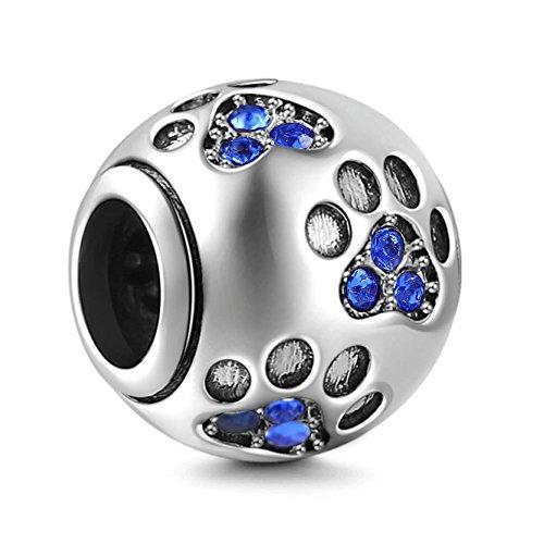 (Dog Paw Print Charm 925 Sterling Silver Footprint Charm Animal Charm Pet Charm for Diy Charms Bracelet)