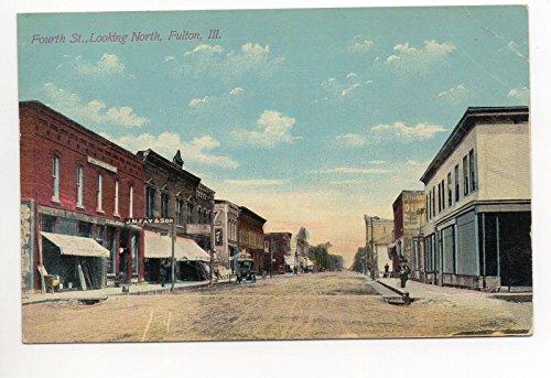 Store Front Street Scene Fulton Illinois Antique Postcard - Fulton Street Stores