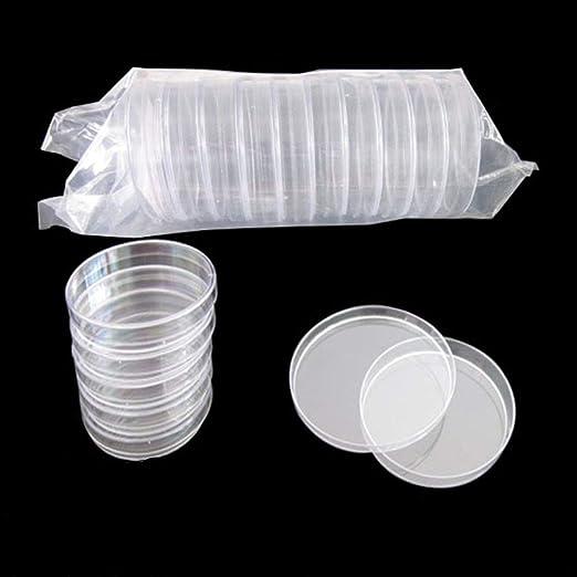 Lezed 20 Pcs Placa de Petri de Pl/ástico Placa de Petri Esterilizada Transparente Recipiente de Cultivo Bacteriano Recipiente de Cultivo Bacteriano Para Cultivo de Laboratorio Levadura 70mm/&90mm