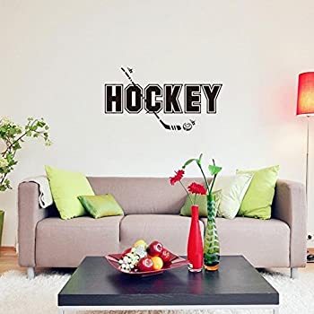 BIBITIME Sport Fans Wall Decal Hockey Sayings Sticker Art Mural Home Decor  Quote For Player Bedroom