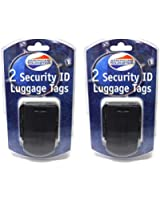 American Tourister Security ID Luggage Tags Lot of 4 Black Travel Suitcase