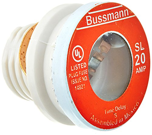 Bussmann SL-20 20 Amp Time Delay Loaded Link Rejection Base Plug Fuse, 125V UL Listed, 4-Pack