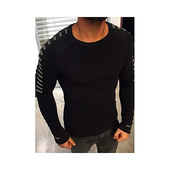 c6a13ddb6758 Hirate Men s Knitted Sweater Casual Striped Long Sleeve Pullover Elastic  (Black