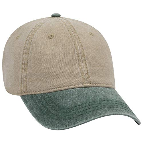 OTTO 6 Panel Low Profile Garment Washed Pigment Dyed Baseball Cap - Dk.Grn/KHA