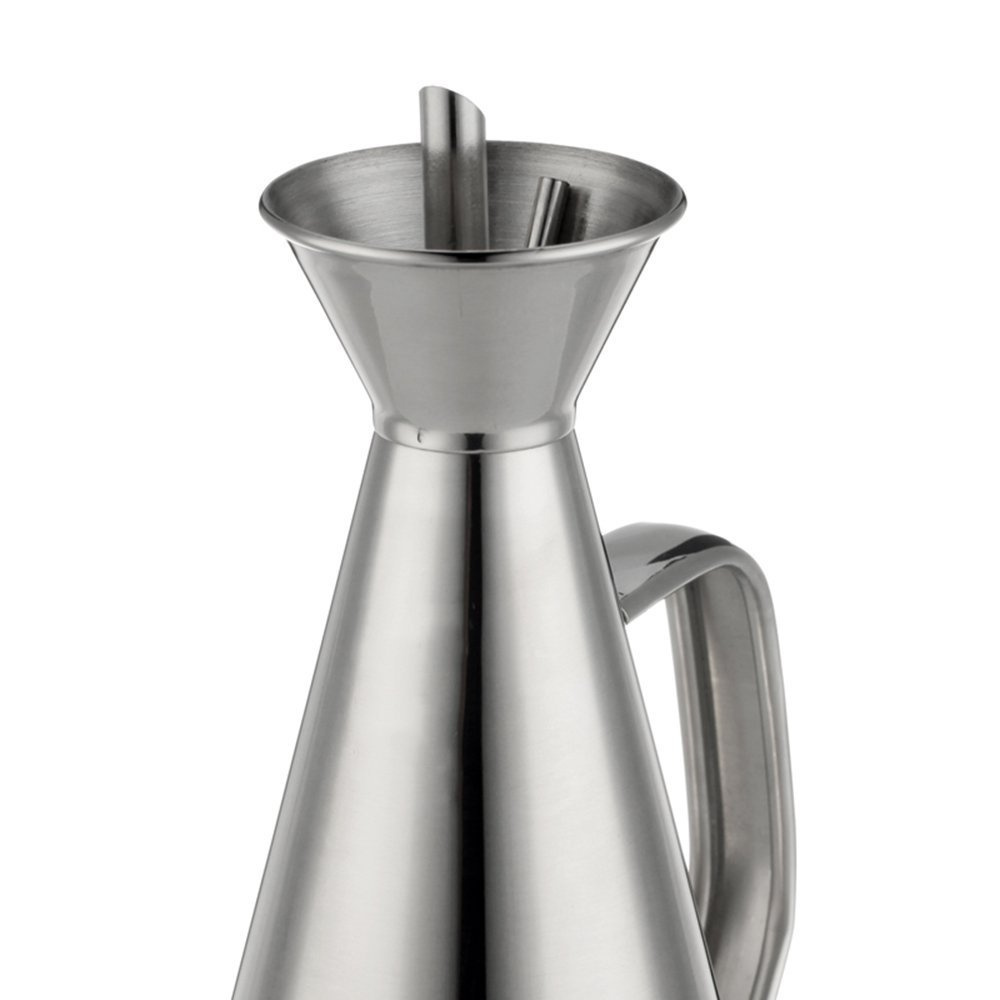 1 Liter Olive and Cooking Oil Dispenser. 35 Fl. Ounces Stainless Steel Olive Oil Dispenser. Cone Shaped, Leak-Proof, Drip-Free Spout. Rust-Proof. Secure Silicone Removable Cork. By Cuisica. by Cuisica (Image #5)