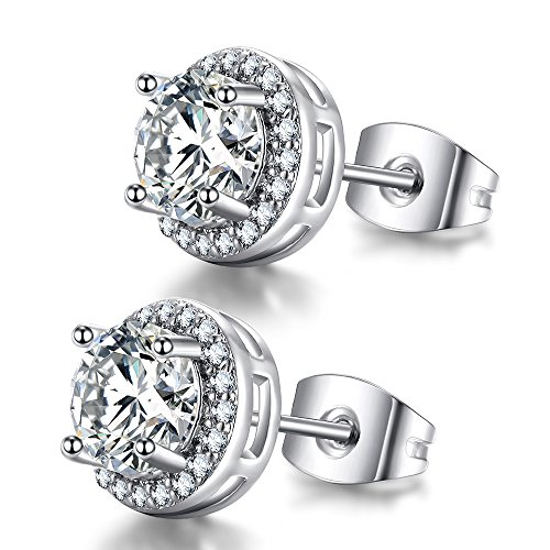 Pure Li 6mm 14k White Gold Plated Round CZ Stud Earrings for -