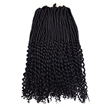 "Silike Wavy End Faux locs 18"" (3 packs 1#) Synthetic Crochet Braids Havana Mambo Faux Locs Dreadlocks Braids"
