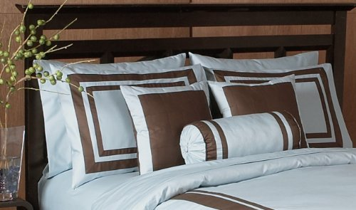 Blue and Chocolate Hotel Spa Collection Duvet Cover 6 piece Bedding Set - King Size