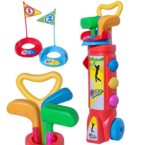 Kids Outdoor Club - BonBon Tiny Golf Toy Play Set - 2 Clubs, 1 Putter, 3 Golf Balls, 2 Flags, & Bag with Wheels - Indoor and Outdoor Play for Boys and Girls!
