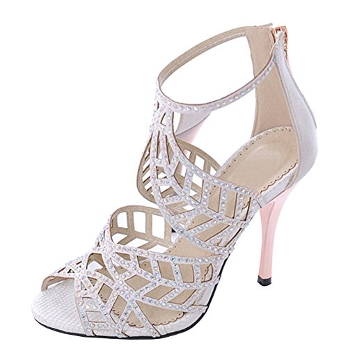 Strappy Leather Pump (Crystal Studs High Heel Sandals Peep Toe Strappy Sandals Party Pumps Evening Dress Shoe White US Size 8)