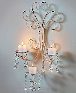 Wall Chandelier Candle Holder Sconce Shabby Chic Elegant Scrollwork  Decorative Metal Vintage Style Decorative Home Accent