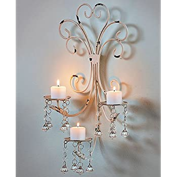 Amazon wall chandelier candle holder sconce shabby chic elegant wall chandelier candle holder sconce shabby chic elegant scrollwork decorative metal vintage style decorative home accent aloadofball Image collections