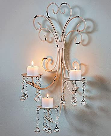 Amazon wall chandelier candle holder sconce shabby chic wall chandelier candle holder sconce shabby chic elegant scrollwork decorative metal vintage style decorative home accent aloadofball Images