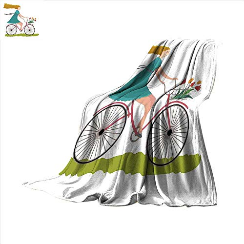 smallbeefly Bicycle Throw Blanket Young Woman on Bike with Basket of Tulip Flowers Riding in The Spring Countryside Velvet Plush Throw Blanket 80