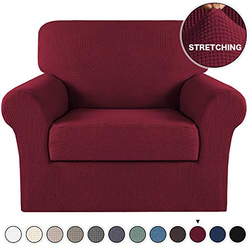Stretch Chair Slipcover 2 Pieces Couch Cover Furniture Cover/Protector with Elastic Bottom Spandex Jacquard Checked Fabric with Small Check for Living Room Couch Slipcovers (Chair, Burgundy)
