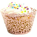 Cupcake Wrappers, Picopaco 50Pcs Cupcake Liners White Vine Lace Hollow Filigree Baking Cup Muffin Case Trays for Wedding/Birthday Party Baby Showers Decoration. (Pink)