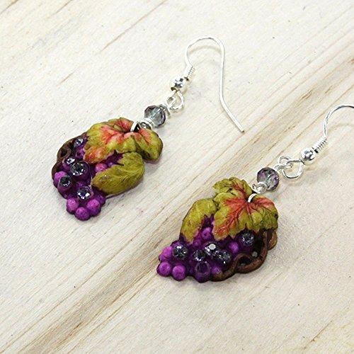 Napa Nights Earrings Grape Vine Purple Rhinestone by Jinglebirds