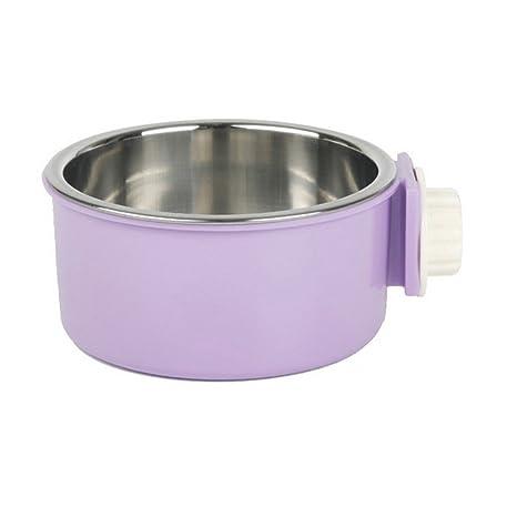 UEETEK Comedero para Mascotas Perro Gato Acero Inoxidable (Púrpura)