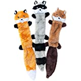 ZippyPaws Skinny Peltz No Stuffing Squeaky Plush Dog Toy, Large Assorted, 3 Count