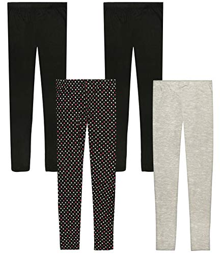 Only Girls Ultra Comfortable Soft-Touch Printed Yummy Leggings (4-Pack), Polka Dots/Heather Grey, Size 12' -