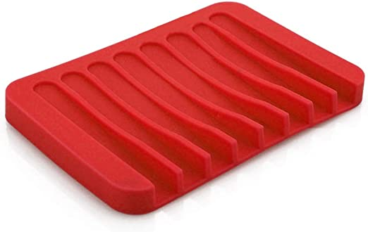 Plate Tray Drain Bathroom Silicone Lovely Soap Dish Storage Holder Soapbox