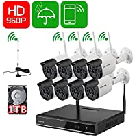 ONWOTE 8 Channel HD Wireless WiFi IP Security Camera System with 1TB Hard Drive and 8 Outdoor Night Vision 960P 1.3 Megapixel Wireless Cameras (1080P Output, Built-in Router, Auto-Pair, Motion Alert)
