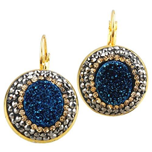 SUNYIK Blue Titanium Druzy Crystal Czech Lever Back Dangle Earrings