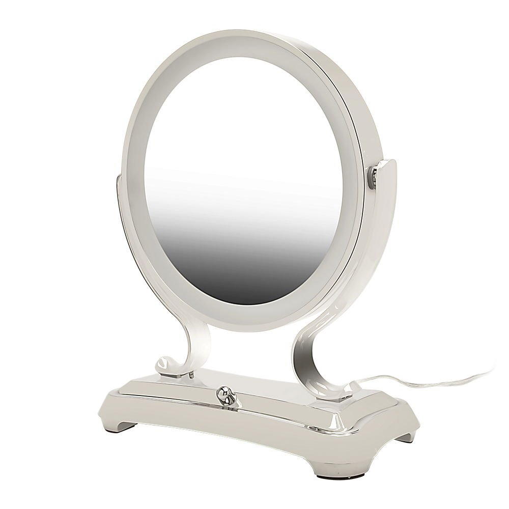 Zadro Polished Nickel Surround Light Dual Sided Glamour Vanity Mirror, 5X 1X Magnification