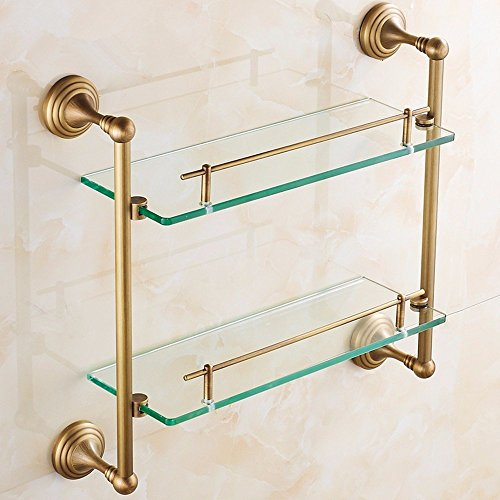 DIDIDD All Copper Double Bathroom Glass Shelving Dressing Table European Style by DIDIDD