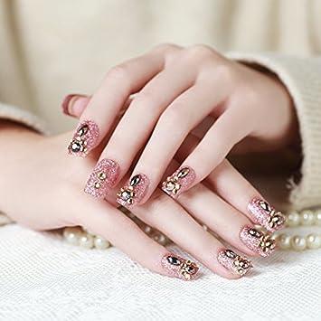 Amazon.com: Juego de 24 uñas postizas con purpurina rosa, 3D ...