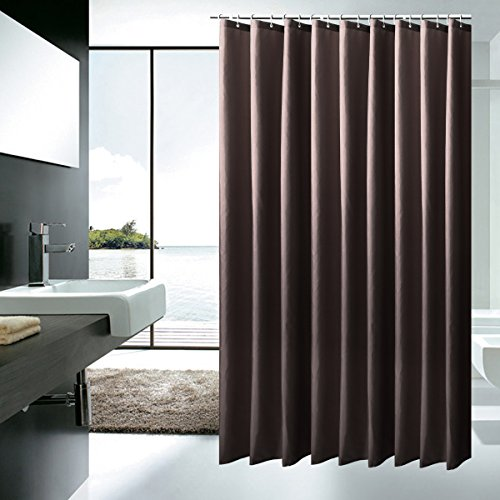 durable service Lonniyl Heavy Weight Fabric Shower Curtain - Water Repellent, Mildew Resistant, gray (72 Inch Width x 78 Inch Long) (72 Inch Width x 78 Inch Long, Brown)