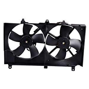 ECCPP Dual Cooling Fan Assembly Replacement fit for 2003 2004 2005 2006 2007 Infiniti G35 Nissan 350Z NI3115127