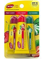 Carmex Moisturizing Lip Balm 3 Tubes Assorted Flavor Fresh Cherry Strawberry Wintergreen