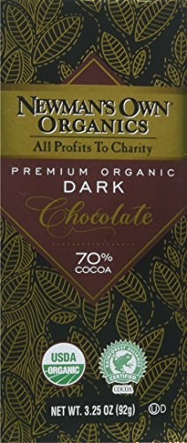 Newman's Own Organics Organic Premium Chocolate Bar, Super Dark 70% Cocoa, 3.25-Ounce Bars (Pack of 12)
