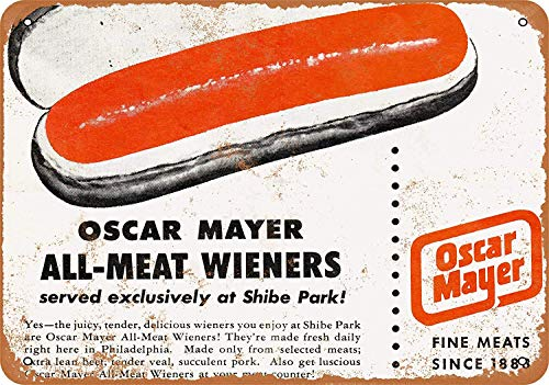 - SRongmao 12 x 16 Metal Sign - Vintage Look 1953 Oscar Mayer Wieners at Shibe Park